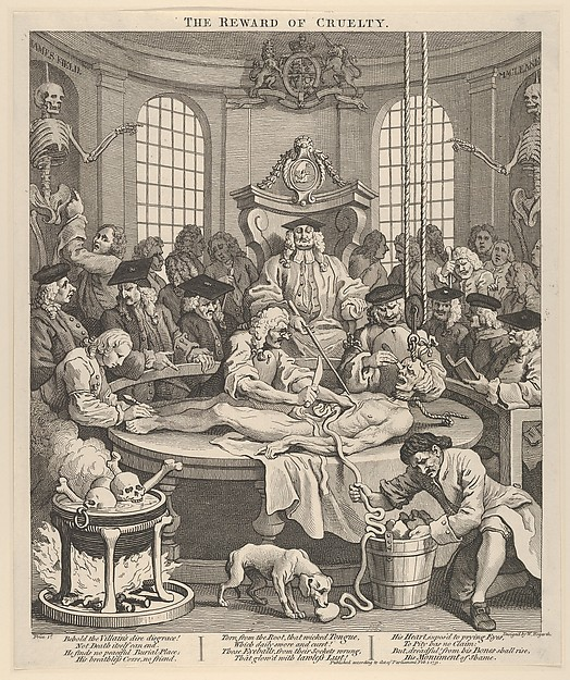 The Reward of Cruelty (The Four Stages of Cruelty), William Hogarth (British, London 1697–1764 London), Etching and engraving; third state of three