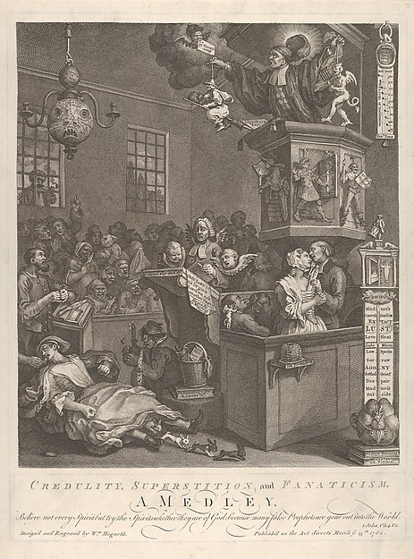 Credulity, Superstition, and Fanaticism, William Hogarth (British, London 1697–1764 London), Etching and engraving; second state of two