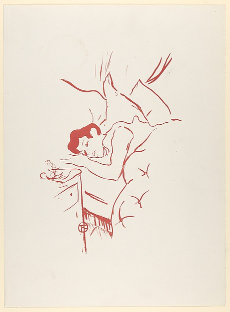 Your Mouth (from Les Vieilles Histoires), Henri de Toulouse-Lautrec (French, Albi 1864–1901 Saint-André-du-Bois), Lithograph printed in red on wove paper; only state; posthumous re-edition after 1901
