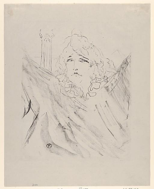 Sarah Bernhardt, Henri de Toulouse-Lautrec (French, Albi 1864–1901 Saint-André-du-Bois), Crayon lithograph on china paper