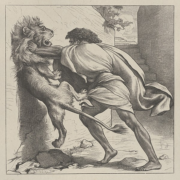 Samson and the Lion (Dalziels' Bible Gallery), After Frederic, Lord Leighton (British, Scarborough 1830–1896 London), Wood engraving on India paper, mounted on thin card