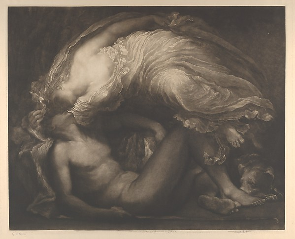 Diana and Endymion, Sir Frank Short (British, Stourbridge, West Midlands 1857–1945 Ditchling, East Sussex), Etching and mezzotint, printed in brown ink