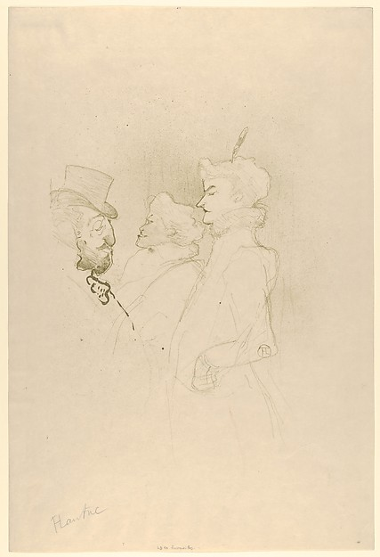 Why Not? . . . Once is Not to Make a Habit of It, Henri de Toulouse-Lautrec (French, Albi 1864–1901 Saint-André-du-Bois), Crayon, brush, and spatter lithograph printed in olive green on wove paper; only state
