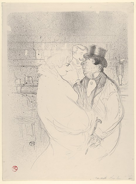 Ida Heath at the Bar, Henri de Toulouse-Lautrec (French, Albi 1864–1901 Saint-André-du-Bois), Crayon, brush and spatter lithograph with scraper printed in black ink on wove paper; only state
