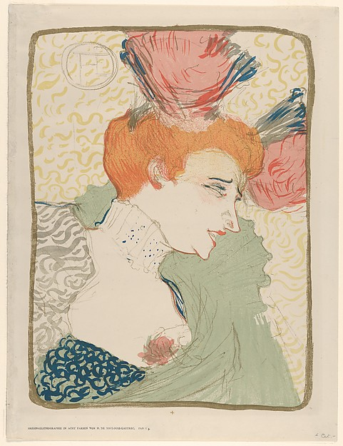 Portrait Bust of Mademoiselle Marcelle Lender, Henri de Toulouse-Lautrec (French, Albi 1864–1901 Saint-André-du-Bois), Crayon, brush, and spatter lithograph printed in eigt colors with letterpress text on wove paper; fourth state of four (Pan edition 1895)