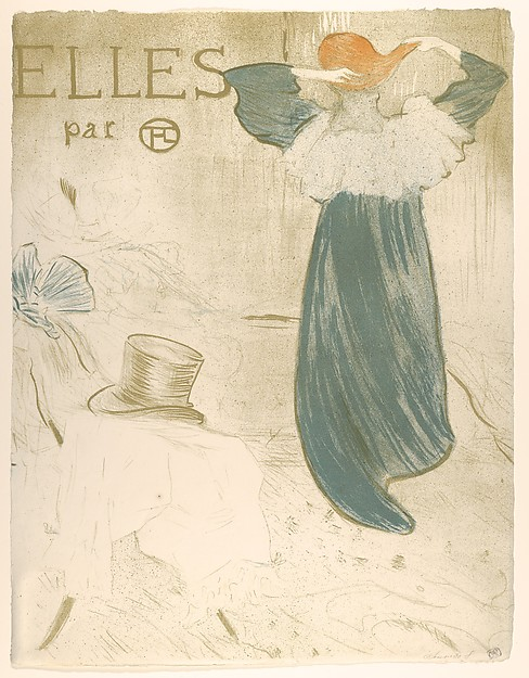 Elles (portfolio cover), Henri de Toulouse-Lautrec (French, Albi 1864–1901 Saint-André-du-Bois), Crayon, brush, and spatter lithograph printed in three colors on wove paper with watermark (G. Pellet / T. Lautrec); second state of three (frontispiece edition)