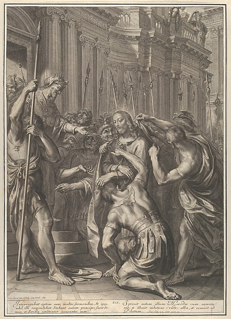 Christ Before Herod, from The Passion of Christ, plate 12, Grégoire Huret (French, Lyon 1606–1670 Paris), Engraving