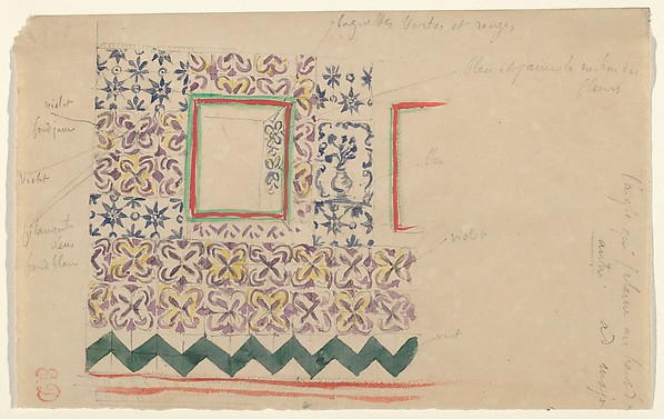 A Wall Decorated in Spanish Tiles, Eugène Delacroix (French, Charenton-Saint-Maurice 1798–1863 Paris), Watercolor over graphite