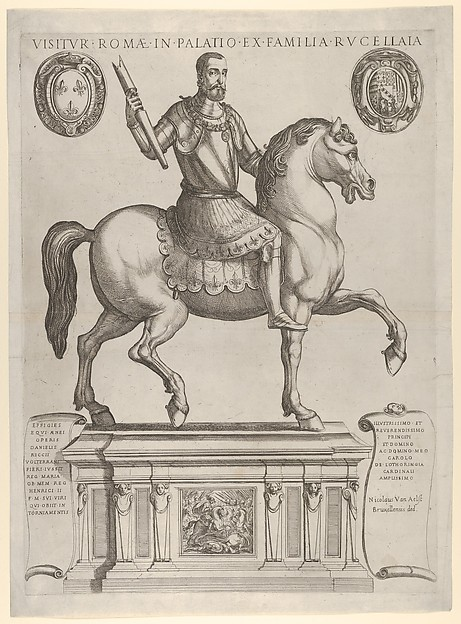 Equestrian Statue of Henry II, King of France, in the Palazzo Rucellai by Daniele de Volterra, Antonio Tempesta (Italian, Florence 1555–1630 Rome), Etching