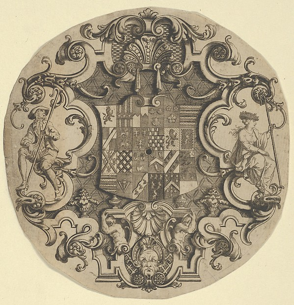 Design for an Ornamental Crest for Silver Plate, Formerly attributed to William Hogarth (British, London 1697–1764 London), Engraving