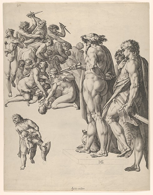 Massacre of the Innocents, Hendrick Goltzius (Netherlandish, Mühlbracht 1558–1617 Haarlem), Engraving; third state of three