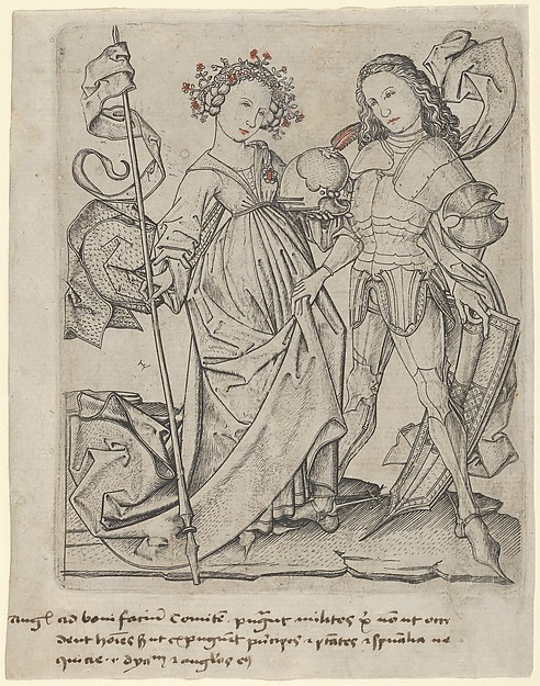 The Knight and the Lady, Master ES (German, active ca. 1450–67), Engraving