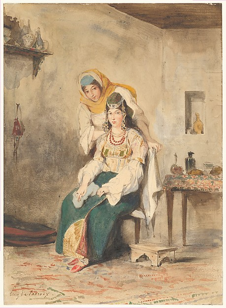 Saada, the Wife of Abraham Ben-Chimol, and Préciada, One of Their Daughters, Eugène Delacroix (French, Charenton-Saint-Maurice 1798–1863 Paris), Watercolor over graphite on wove paper