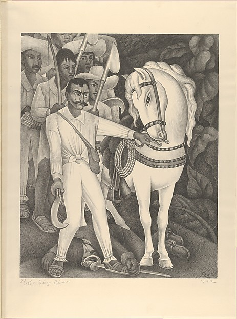 Emiliano Zapata and His Horse, Diego Rivera (Mexican, Guanajuato 1886–1957 Mexico City), Lithograph