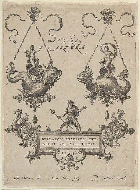 Title Plate with Two Pendant Designs Above and Neptune Standing on a Cartouche Below, Adriaen Collaert (Netherlandish, Antwerp ca. 1560–1618 Antwerp), Engraving; second state of four (New Hollstein)