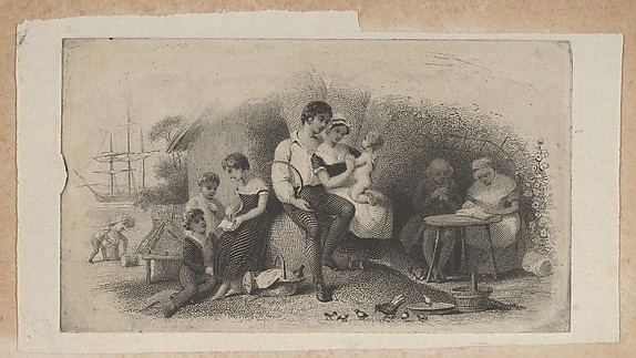 Banknote vignette with figures of different ages, representing the stages of life, Attributed to Asher Brown Durand (American, Jefferson, New Jersey 1796–1886 Maplewood, New Jersey), Engraving and etching on chine collé