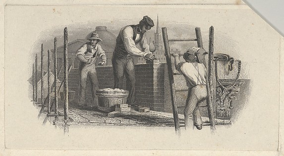 Banknote vignette showing three men on a scaffold laying a brick wall, Attributed to Asher Brown Durand (American, Jefferson, New Jersey 1796–1886 Maplewood, New Jersey), Engraving and etching