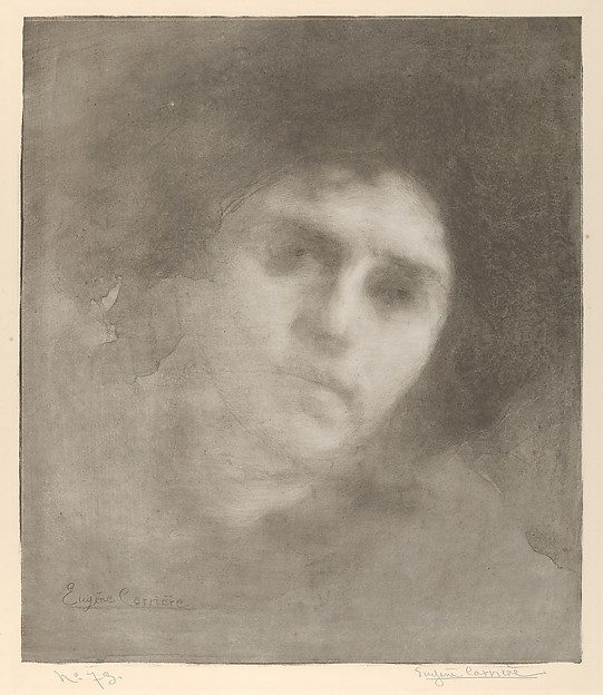 Mme Eugène Carrière (Tête / Head), Eugène Carrière (French, Gournay 1849–1906 Paris), Lithograph; only state
