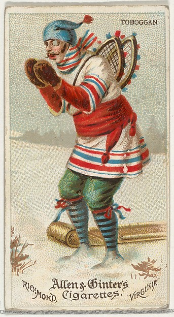 Toboggan, from World's Dudes series (N31) for Allen & Ginter Cigarettes, Allen & Ginter (American, Richmond, Virginia), Commercial color lithograph