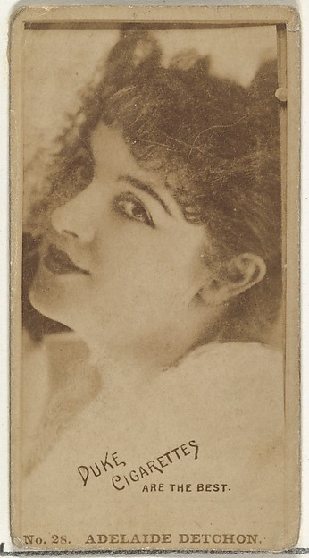 Card Number 28, Adelaide Detchon, from the Actors and Actresses series (N145-6) issued by Duke Sons & Co. to promote Duke Cigarettes, Issued by W. Duke, Sons & Co. (New York and Durham, N.C.), Albumen photograph