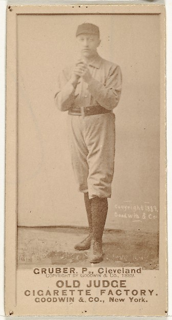 Henry Gruber, Pitcher, Cleveland, from the Old Judge series (N172) for Old Judge Cigarettes, Issued by Goodwin & Company, Albumen photograph