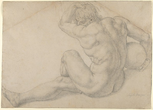 Seated Male Nude (Study for the Martyrdom of St. Lawrence), Bronzino (Agnolo di Cosimo di Mariano) (Italian, Monticelli 1503–1572 Florence), Black chalk, glued onto secondary support