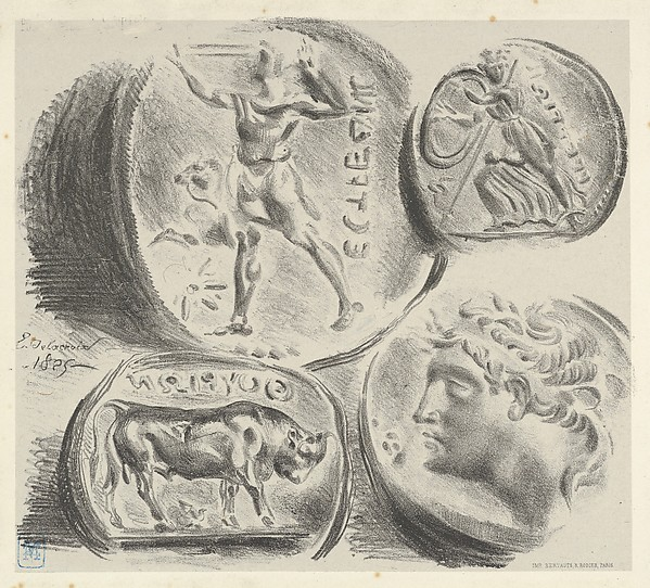 Studies of Four Greek Coins, Eugène Delacroix (French, Charenton-Saint-Maurice 1798–1863 Paris), Lithograph; fourth and final state
