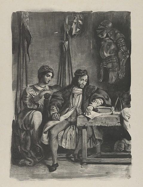 Goetz von Berlichingen Writing His Memoirs, Eugène Delacroix (French, Charenton-Saint-Maurice 1798–1863 Paris), Lithograph; second state of four
