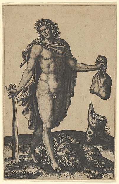 David standing, sword in lowered right hand, sack in the left, the head of Goliath on the ground beneath him, Marcantonio Raimondi (Italian, Argini (?) ca. 1480–before 1534 Bologna (?)), Engraving; the figure, ground and tree stump cut out and pasted to secondary support