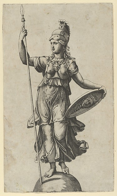 Pallas Athena standing on a globe, a spear in her left hand, a shield in her right, Marcantonio Raimondi (Italian, Argini (?) ca. 1480–before 1534 Bologna (?)), Engraving