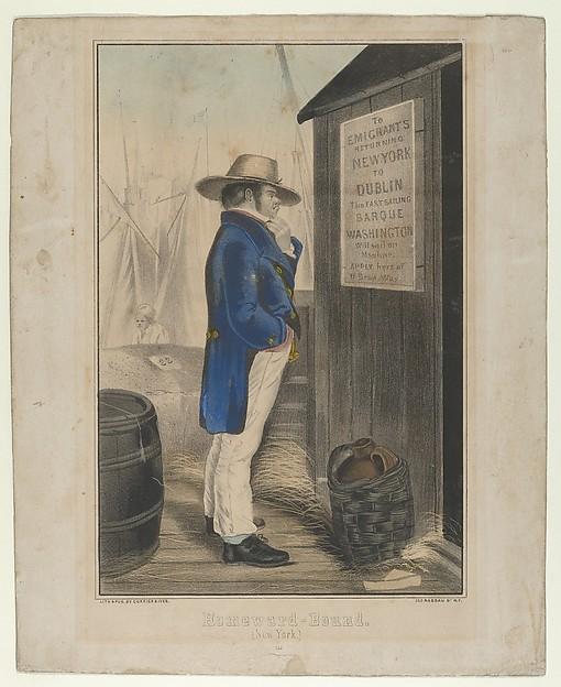 Homeward Bound (New York), After Erskine Nicol (British, Leith, Scotland 1825–1904 Feltham, Middlesex), Hand-colored lithograph