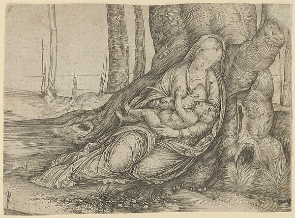 The Madonna nursing the Christ Child at the foot of a tree, Jacopo de' Barbari (Italian, active Venice by 1497–died by 1516 Mechelen or Brussels), Engraving, upper and lower right corners are restored