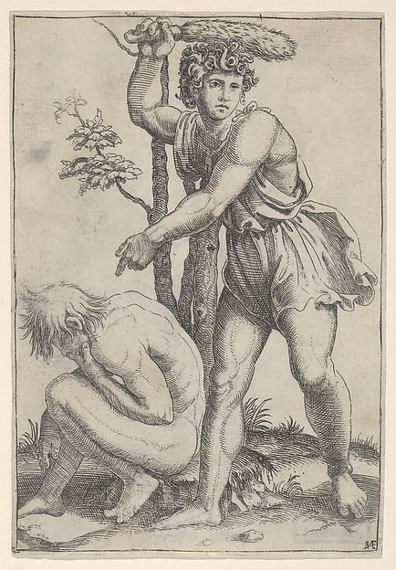 The seated naked man at left being beaten with a fox's tail, Marcantonio Raimondi (Italian, Argini (?) ca. 1480–before 1534 Bologna (?)), Engraving
