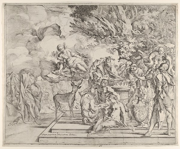 The Sacrifice of Iphigenia, Pietro Testa (Italian, Lucca 1612–1650 Rome), Etching with drypoint