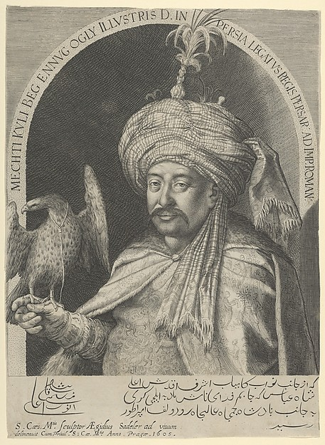 Mechti Kuli Beg, Persian Ambassador to Prague, Aegidius Sadeler II (Netherlandish, Antwerp 1568–1629 Prague), Engraving