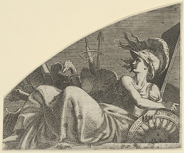 Bellona Seated on her Trophies, Léon Davent (French, active 1540–56), Etching