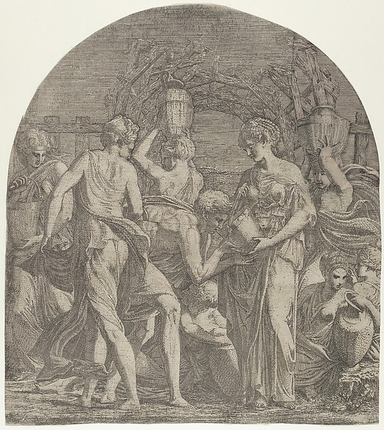 Rebecca and Eliezer at the Well, Léon Davent (French, active 1540–56), Etching