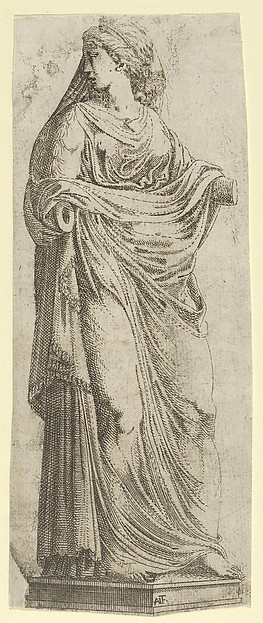 Woman Turned to the Right, Antonio Fantuzzi (Italian, active France, 1537–45), Etching