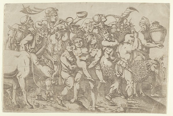 Silenus Carried by Two Attendants of Bacchus, Antonio Fantuzzi (Italian, active France, 1537–45), Etching