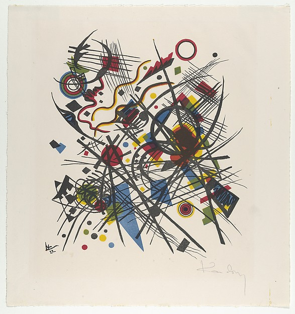 Lithographie fur die Vierte Bauhausmappe, Vasily Kandinsky (French (born Russia), Moscow 1866–1944 Neuilly-sur-Seine), Lithograph in yellow, red, blue, black