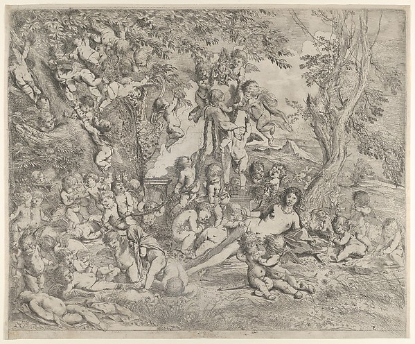 The Garden of Venus who reclines in the centre before a term of Pan and surrounded by cupids, Pietro Testa (Italian, Lucca 1612–1650 Rome), Etching