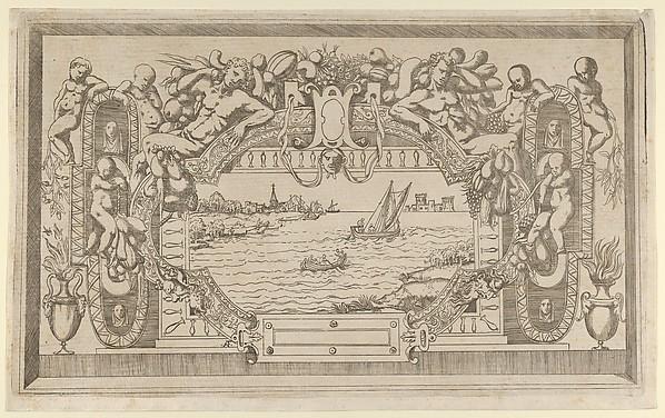 Landscape with Ornamental Frame, Antonio Fantuzzi (Italian, active France, 1537–45), Etching