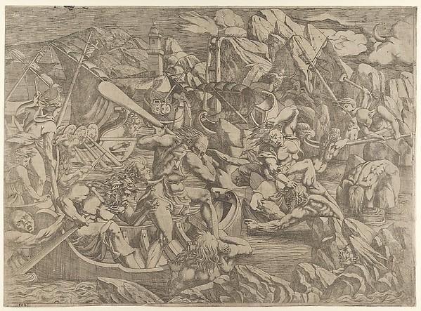 Revenge of Nauplins, Antonio Fantuzzi (Italian, active France, 1537–45), Etching