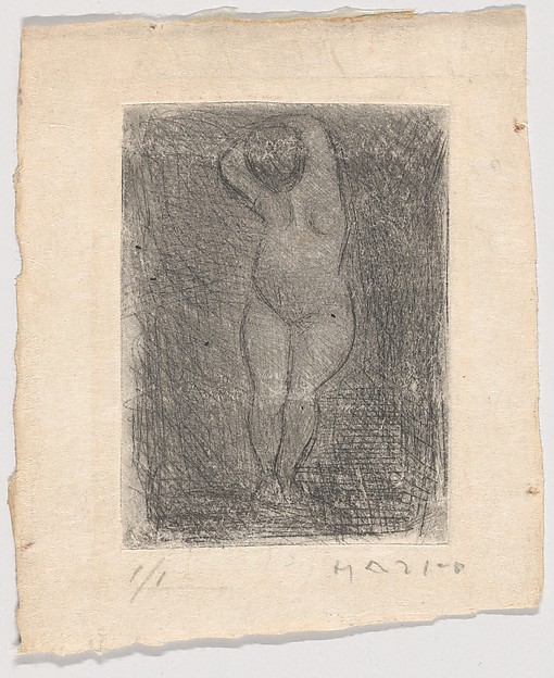 Standing Female Nude, Marino Marini (Italian, Pistoia 1901–1980 Viareggio), Etching