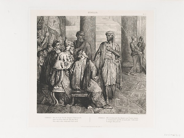 """She lov'd me for the dangers I had pass'd"": plate 3 from Othello (Act 1, Scene 3), Théodore Chassériau (French, Le Limon, Saint-Domingue, West Indies 1819–1856 Paris), Etching, engraving, roulette, and drypoint on chine collé; second edition (Gazette des Beaux-Arts)"