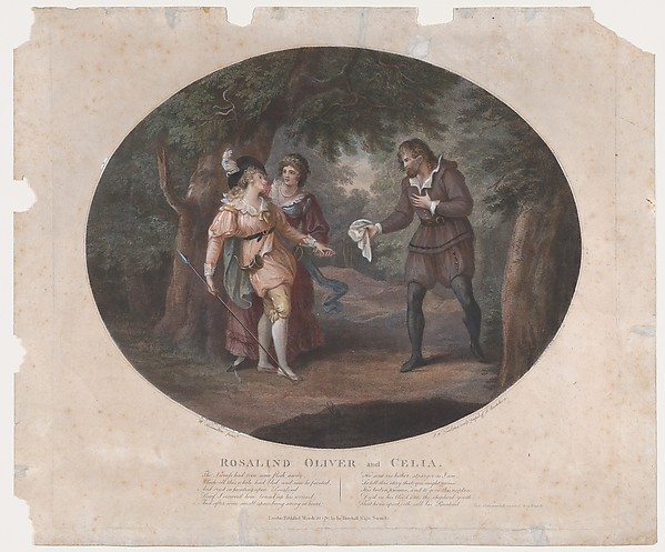 Rosalind, Oliver and Celia (Shakespeare, As You Like It, Act 4, Scene 6), Peltro William Tomkins (British, London 1759–1840 London), Etching and engraving, hand-colored