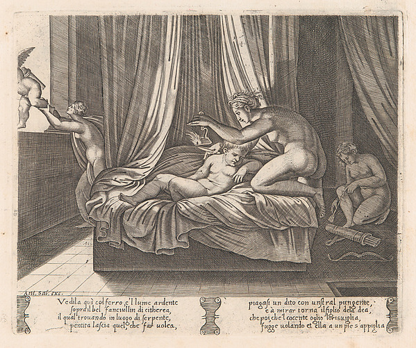 Plate 13: Psyche looking at Cupid, from the Story of Cupid and Psyche as told by Apuleius, Agostino Veneziano (Agostino dei Musi) (Italian, Venice ca. 1490–after 1536 Rome), Engraving