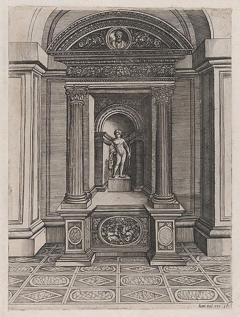 Speculum Romanae Magnificentiae: The Altar of Eros, Attributed to Agostino Veneziano (Agostino dei Musi) (Italian, Venice ca. 1490–after 1536 Rome), Engraving