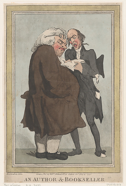An Author & Bookseller, Thomas Rowlandson (British, London 1757–1827 London), Hand-colored etching