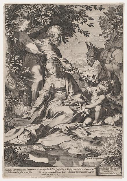 The Rest on the Return from Egypt, Cornelis Cort (Netherlandish, Hoorn ca. 1533–1578 Rome), Engraving